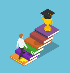 isometric businessman walking on book ladder to vector image