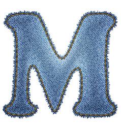 Jeans alphabet Denim letter M vector image