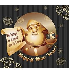 Jolly santa gives a gift vector
