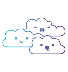 Kawaii cumulus clouds icon flat in degraded blue vector