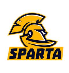 logo spartan ancient warrior helmet coat face vector image