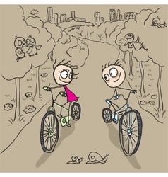 Loving couple man and woman on bicycles vector image