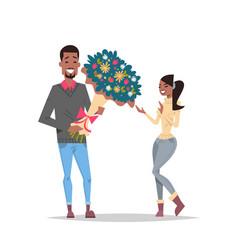 man present woman bouquet of flowers happy vector image