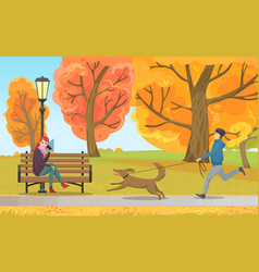 Man with dog and girl on bench in autumn park vector
