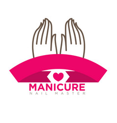 Manicure logo template with two female hands on vector