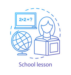 Math lesson learning process concept icon vector