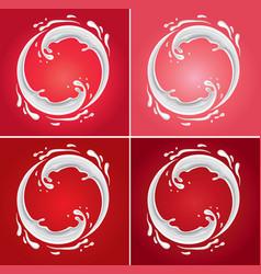 Milk circle splash on different red background vector