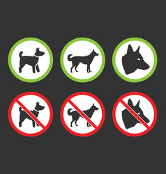 No dogs icons dog prohibited and allowed signs vector