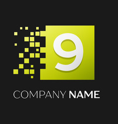Number nine logo symbol in the colorful square vector