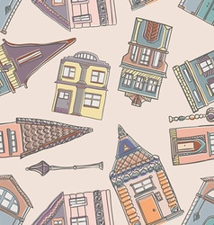 Old Houses Pattern vector