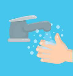 Pair of hands washing using soap vector