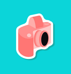 paper sticker on stylish background camera vector image