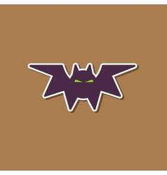 paper sticker on stylish background halloween bat vector image