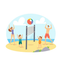 Parents and children playing beach volleyball vector