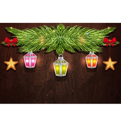 Pine branch with Christmas decorations vector image