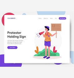 Protester holding sign vector