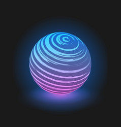 purple with blue glow ball on black background vector image