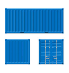 realistic 3d detailed blue cargo container set vector image