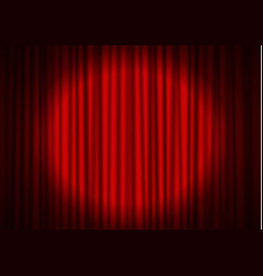 red curtain with spotlight in theater velvet fabr vector image