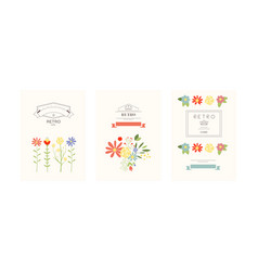 retro cards with flowers set design element vector image