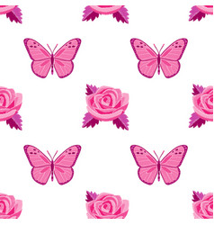 Roses and butterflies embroidery seamless pattern vector