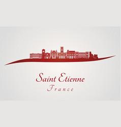 saint etienne skyline in red vector image
