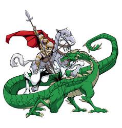 saint george slaying dragon vector image
