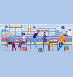 School children in self-service cafe or eatery vector