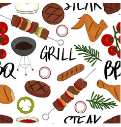 Seamless pattern made from bbq elements barbecue vector