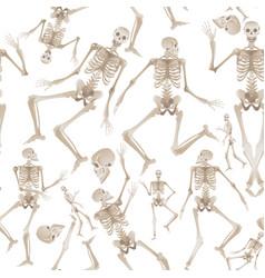 Seamless pattern white human skeletons dancing vector