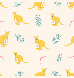 seamless pattern with kangaroos and leaves vector image
