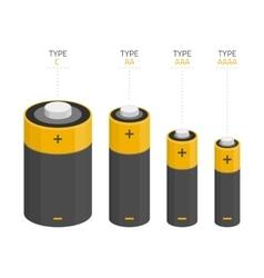 set batteries different sizes vector image