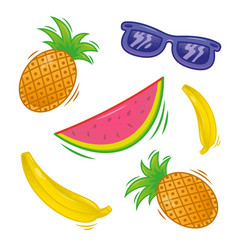 set fresh tropical fruit vector image