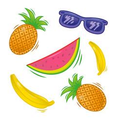 set fresh tropical fruit vector image