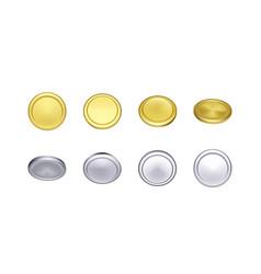 Set gold and silver coin rotation metallic vector