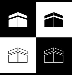 Set kaaba mosque icon isolated on black and white vector