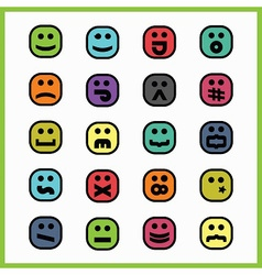 set of colorful cartoon emoji face icons vector image