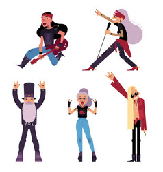 Set of elder old rock musicians and singers vector