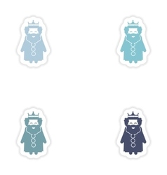 Set of paper stickers on white background king vector