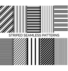 Set of striped seamless black and white patterns vector