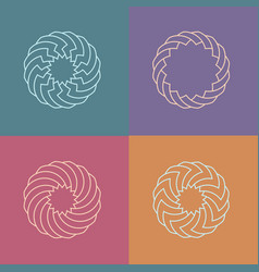 set round linear pattern logos vector image