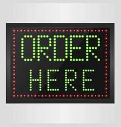 Shining retro light banner order here vector