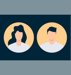 simple avatars man and woman flat design vector image