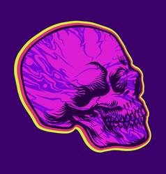 Skull side hippie psychedelic vector