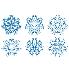 snowflake blue flower on a white background set vector image