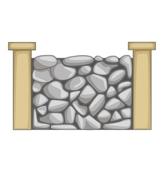 Stone fence icon cartoon style vector