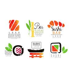 sushi bar logo design collection oriental vector image