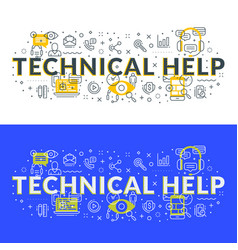 Technical help flat line concept for web banner vector