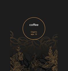 template coffee branch bean dark vector image