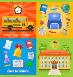 time to go to school four banners vector image